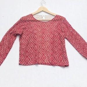 Daytrip Red/Cream Patterned Sweater w/ Lace Back